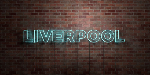 LIVERPOOL - fluorescent Neon tube Sign on brickwork - Front view - 3D rendered royalty free stock picture. Can be used for online banner ads and direct mailers..