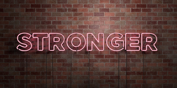 STRONGER - fluorescent Neon tube Sign on brickwork - Front view - 3D rendered royalty free stock picture. Can be used for online banner ads and direct mailers..