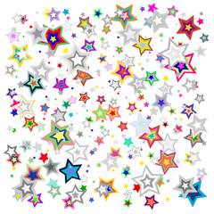 Background with various bright colorful stars. Vector illiustration