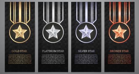 Set of black banner, Gold, platinum,silver and bronze star, Vect