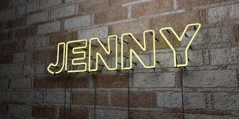 JENNY - Glowing Neon Sign on stonework wall - 3D rendered royalty free stock illustration.  Can be used for online banner ads and direct mailers..