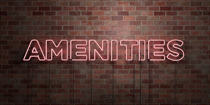 AMENITIES - fluorescent Neon tube Sign on brickwork - Front view - 3D rendered royalty free stock picture. Can be used for online banner ads and direct mailers..