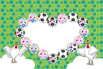 ニワトリとサッカーボールのポップなメッセージカード 酉年