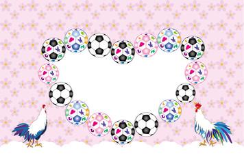 ニワトリとサッカーボールの可愛いメッセージカード 酉年