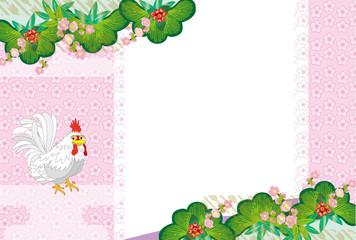和風のニワトリのピンクのメッセージカード 酉年2017