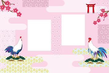 和風のニワトリと梅の花のピンクのメッセージカード