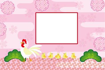 可愛いニワトリとひよこのピンクのグリーティングカード