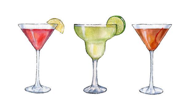 Watercolor cocktails illustration