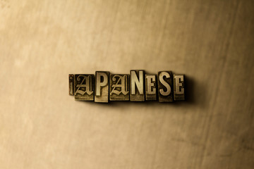 JAPANESE - close-up of grungy vintage typeset word on metal backdrop. Royalty free stock - 3D rendered stock image.  Can be used for online banner ads and direct mail.