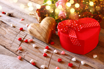 Valentines day background. Red hearts and present box