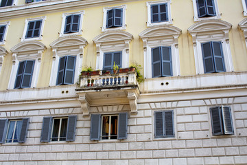 View of a traditional Italian house in Rome.