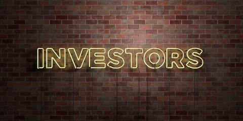 INVESTORS - fluorescent Neon tube Sign on brickwork - Front view - 3D rendered royalty free stock picture. Can be used for online banner ads and direct mailers..