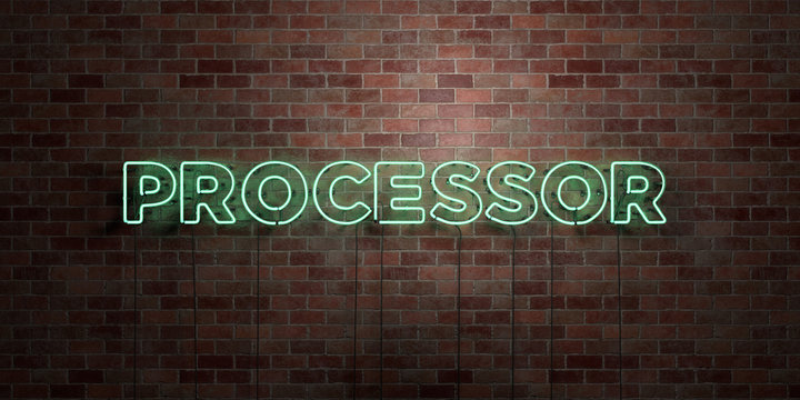 PROCESSOR - fluorescent Neon tube Sign on brickwork - Front view - 3D rendered royalty free stock picture. Can be used for online banner ads and direct mailers..
