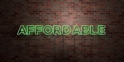 AFFORDABLE - fluorescent Neon tube Sign on brickwork - Front view - 3D rendered royalty free stock picture. Can be used for online banner ads and direct mailers..