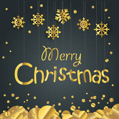 Christmas greeting card. Different golden vector snowflakes illu