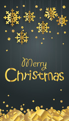 Merry Christmas greeting card. Different golden vector snowflake