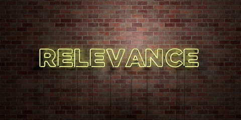 RELEVANCE - fluorescent Neon tube Sign on brickwork - Front view - 3D rendered royalty free stock picture. Can be used for online banner ads and direct mailers..