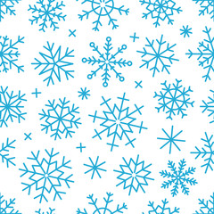 Different vector snowflakes seamless background. Vector ice crys