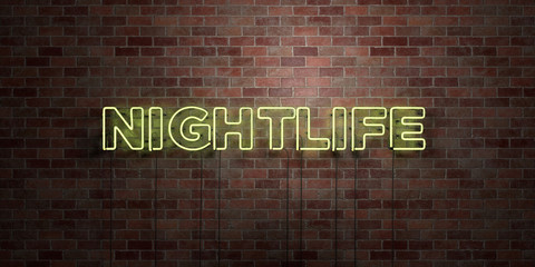 NIGHTLIFE - fluorescent Neon tube Sign on brickwork - Front view - 3D rendered royalty free stock picture. Can be used for online banner ads and direct mailers..