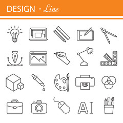 Printing and graphic design icons in thin outlines.