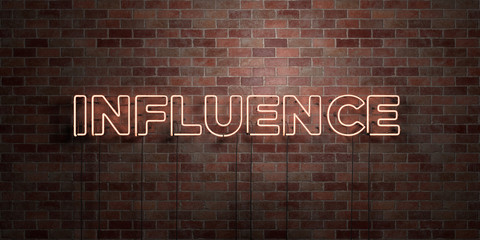 INFLUENCE - fluorescent Neon tube Sign on brickwork - Front view - 3D rendered royalty free stock picture. Can be used for online banner ads and direct mailers..