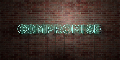 COMPROMISE - fluorescent Neon tube Sign on brickwork - Front view - 3D rendered royalty free stock picture. Can be used for online banner ads and direct mailers..