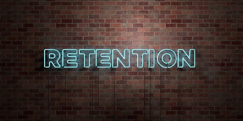RETENTION - fluorescent Neon tube Sign on brickwork - Front view - 3D rendered royalty free stock picture. Can be used for online banner ads and direct mailers..