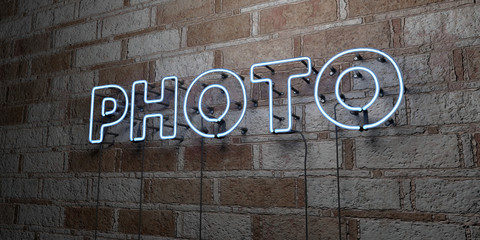 PHOTO - Glowing Neon Sign on stonework wall - 3D rendered royalty free stock illustration.  Can be used for online banner ads and direct mailers..
