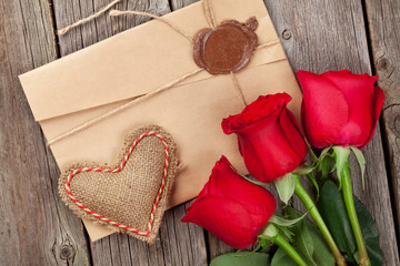 Love letter, red roses and heart