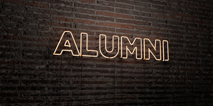 ALUMNI -Realistic Neon Sign on Brick Wall background - 3D rendered royalty free stock image. Can be used for online banner ads and direct mailers..