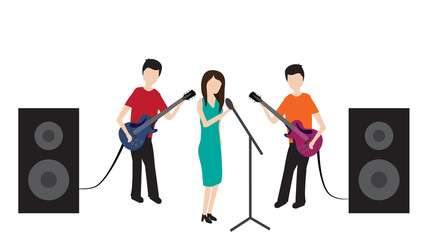 Isolated illustration concert pop group.  It can be used for banner, flyer or poster