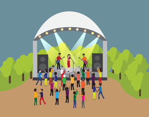 concert rock band in the park. crowd dancing to the music. Evening disco in outdoor. Flat style vector.