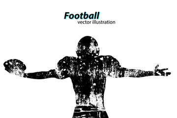 silhouette of a football player. Rugby. American footballer
