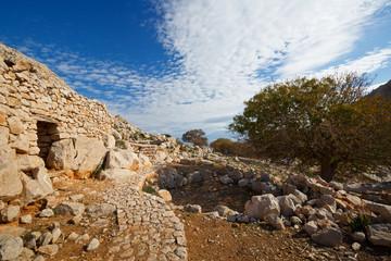 Abandoned village on Halki island in Dodecanese archipelago, Greece.
