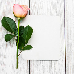 Pink rose and greeting card