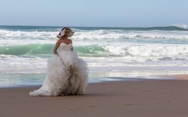 PRAIA DA ADRAGA, COLARES, PORTUGAL - OCTOBER 18, 2014: Wedding photo shoot at Adraga beach (Praia da Adraga) in Portugal