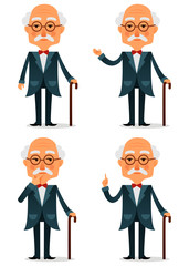 funny cartoon illustration of a cool old man with walking stick