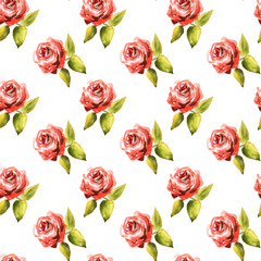 Seamless pattern of watercolor red roses with green leaves