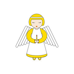 angel character praying with a candle