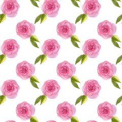 Seamless pattern of watercolor pink roses