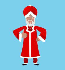 Santa India. Christmas Indian Claus. Red Turban fur. East Grandp