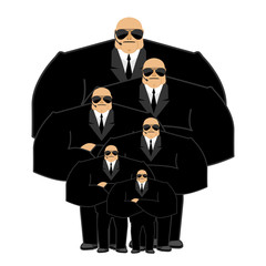 Bodyguard family. Black suit and hands-free. Security man. Prote