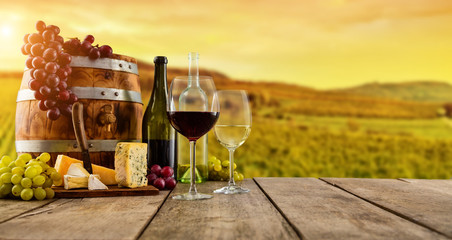 Red and white wine served on wooden planks, vineyard on background