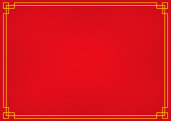 chinese new year background with yellow gold border, abstract oriental wallpaper with decoration frame