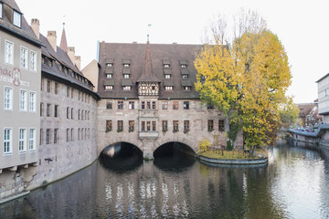 The riverside of Pegnitz river in Nuremberg town..