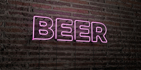 BEER -Realistic Neon Sign on Brick Wall background - 3D rendered royalty free stock image. Can be used for online banner ads and direct mailers..