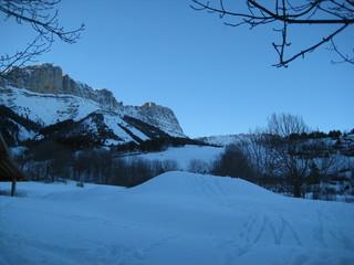 Berge mit Schnee, Wald und blauem Himmel bei Grenoble
