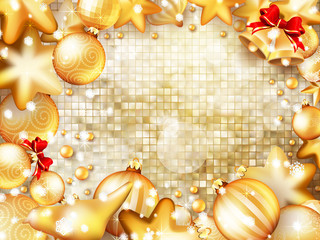 Christmas bells, bow and tinsel. EPS 10