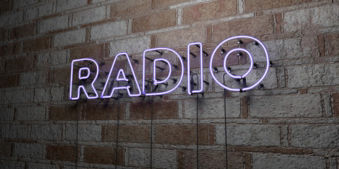 RADIO - Glowing Neon Sign on stonework wall - 3D rendered royalty free stock illustration.  Can be used for online banner ads and direct mailers..