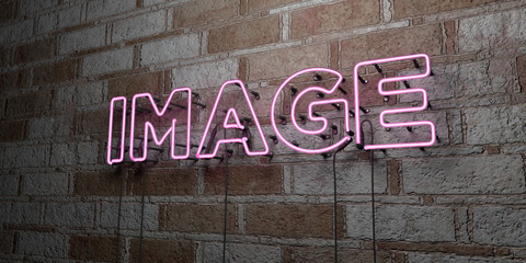 IMAGE - Glowing Neon Sign on stonework wall - 3D rendered royalty free stock illustration.  Can be used for online banner ads and direct mailers..
